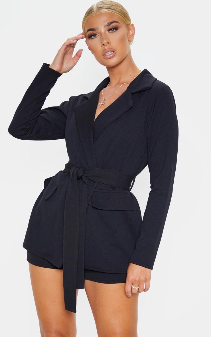 Black Belted Pocket Detail Blazer image 1