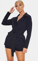 Black Belted Pocket Detail Blazer 1