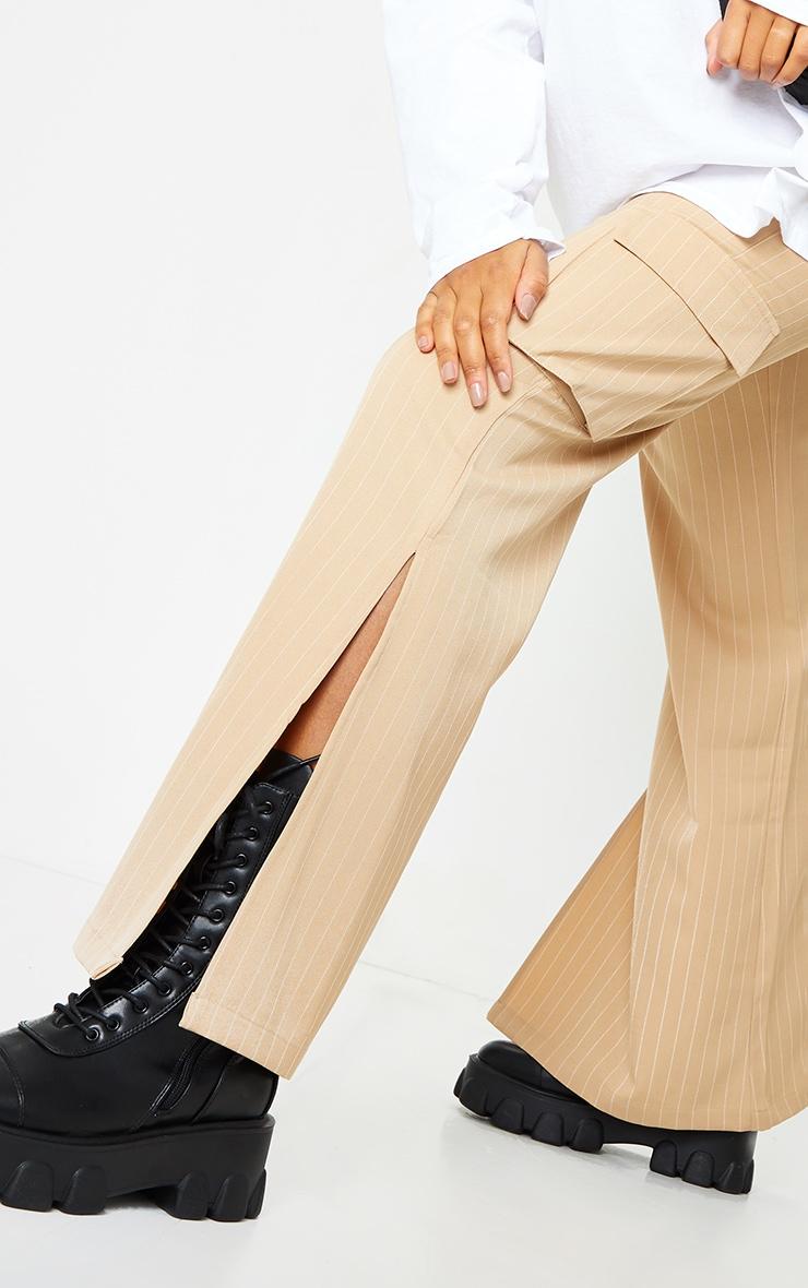 Stone Pinstripe Wide Leg Pocket Detail Pants 4