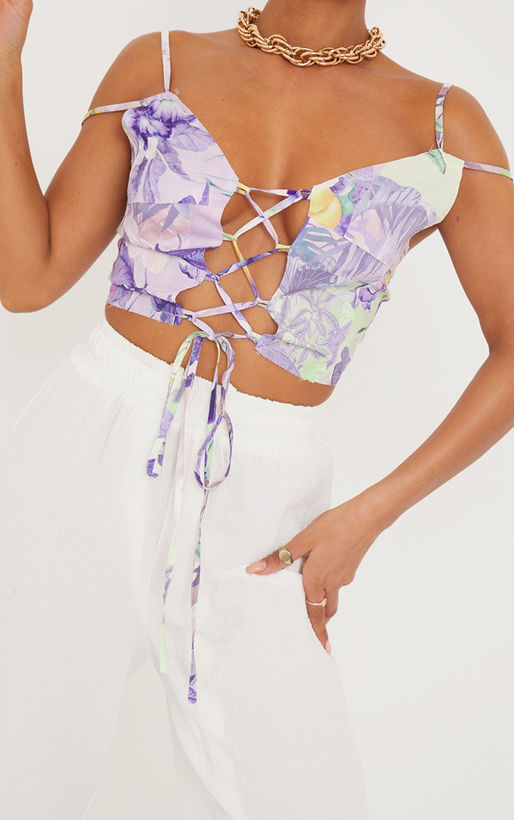 Lilac Printed Linen Look Raw Edge Lace Up Strappy Crop Top 4