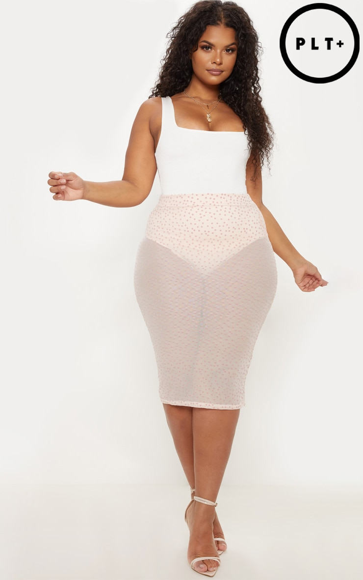 7b79fb5005e Plus Nude Sheer Dobby Mesh Midi Skirt image 1