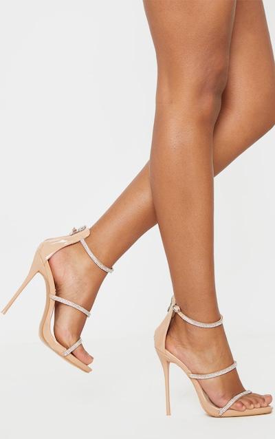 Nude Triple Strap Diamante Extreme Heel Sandal