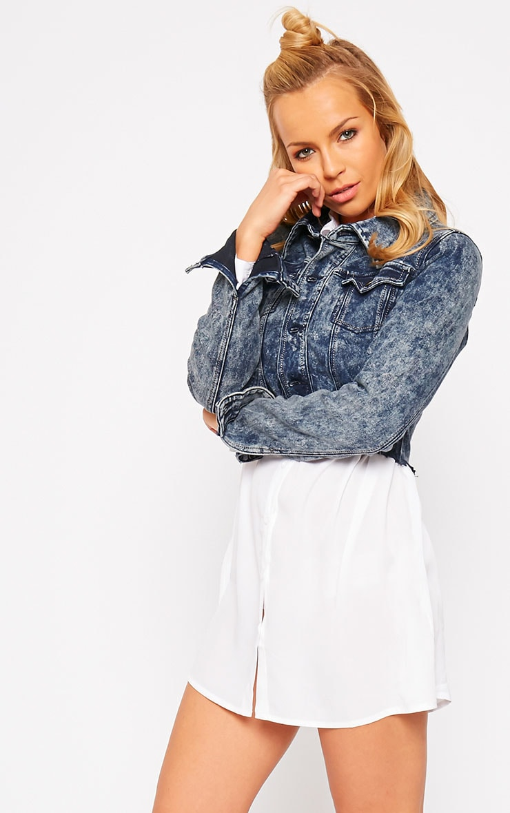 Abey Dark Acid Wash Cropped Frayed Denim Jacket 4