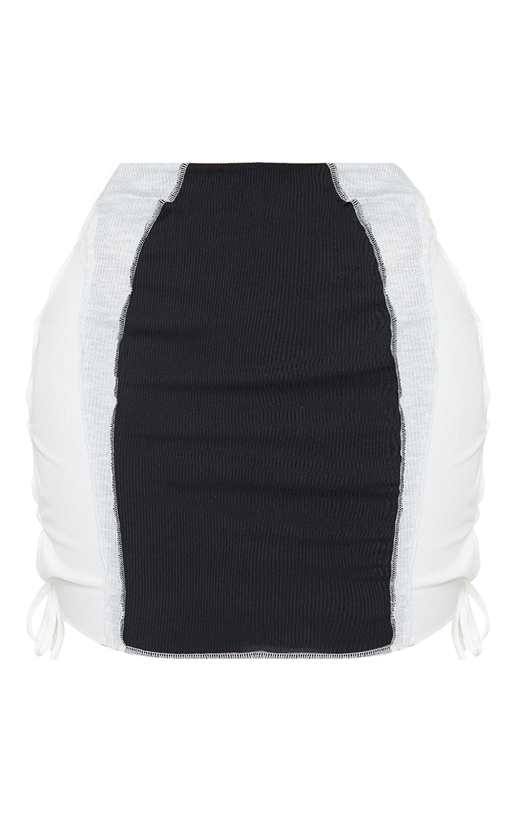 Shape Black Rib Panel Overlock Lace Up Side Bodycon Skirt 6