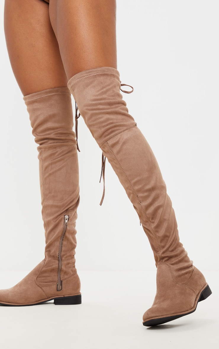 Taupe Flat Over The Knee Boot 2