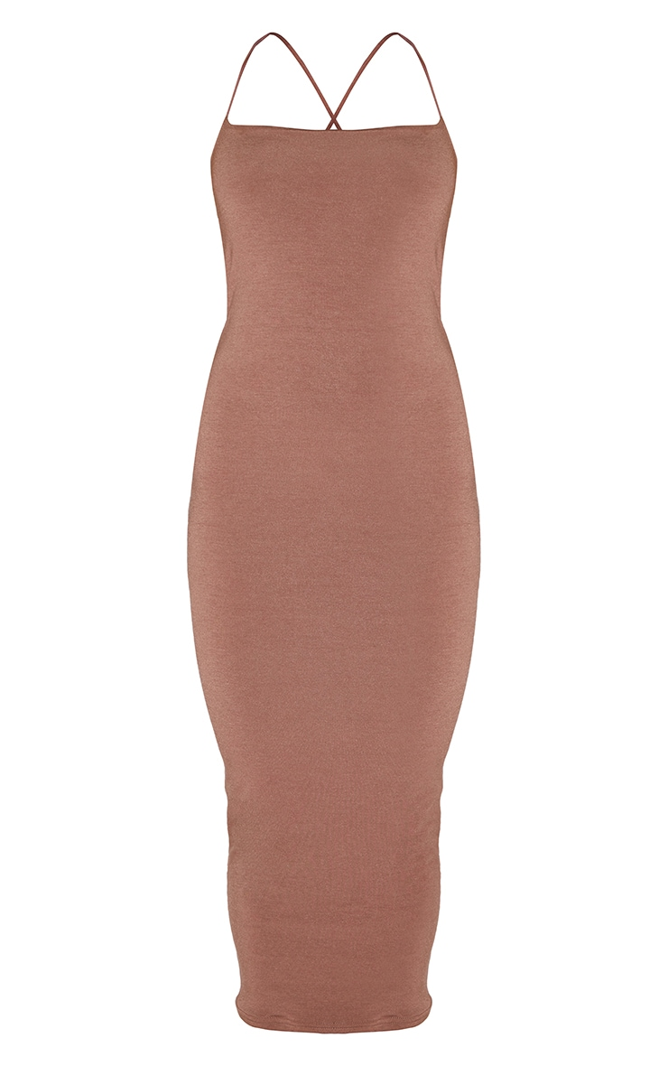 Recycled Chocolate Contour Jersey Strappy Cross Back Midaxi Dress 5