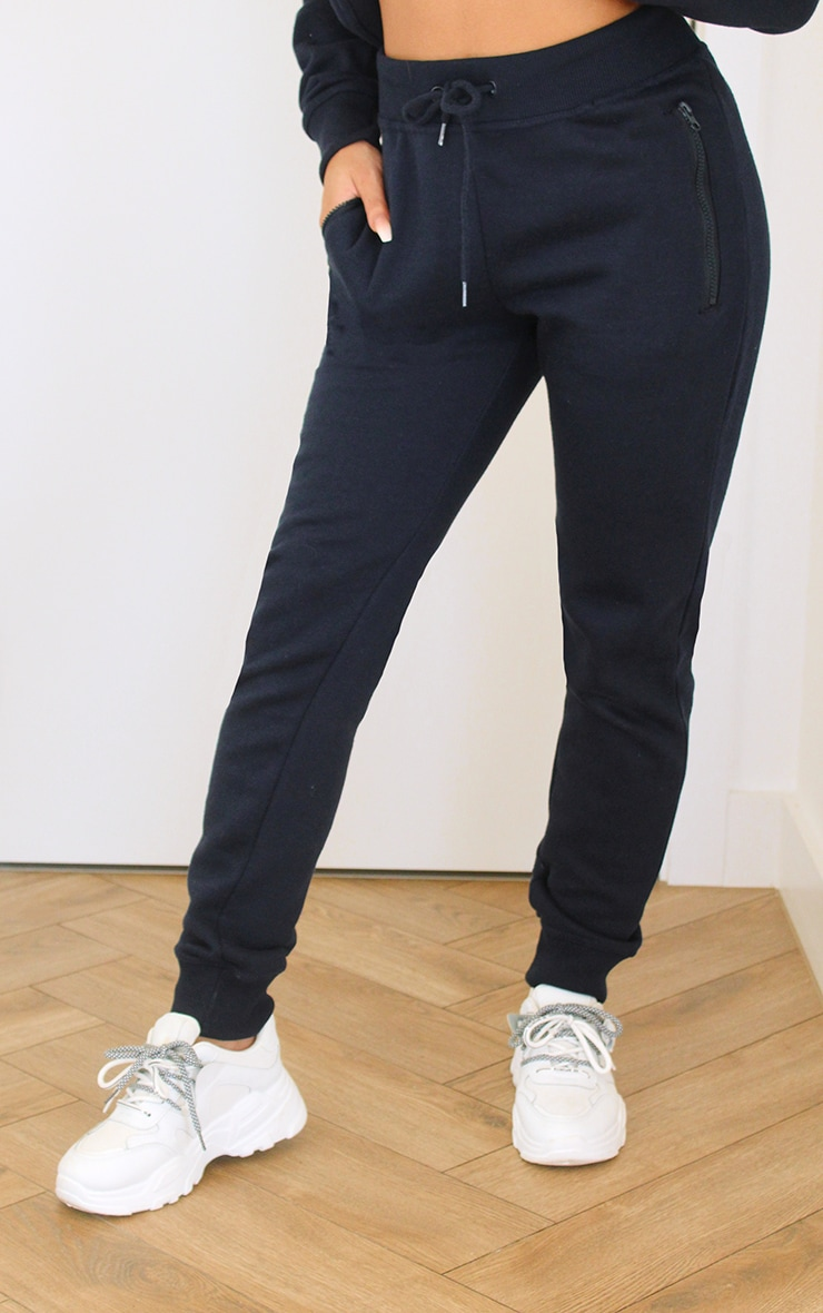 Black Zip Pocket Skinny Joggers 2