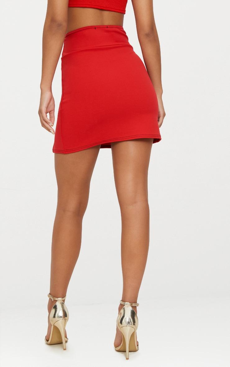 Red Super High Waisted Double Split Hem Mini Skirt  4