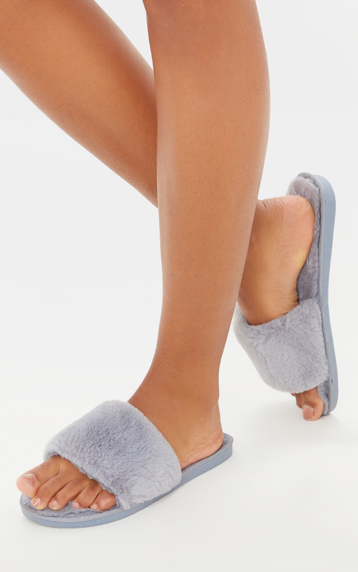 Light Grey Fluffy Slider Slippers 1