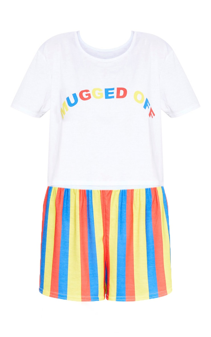 White Mugged Off Rainbow Stripe Short PJ Set 3