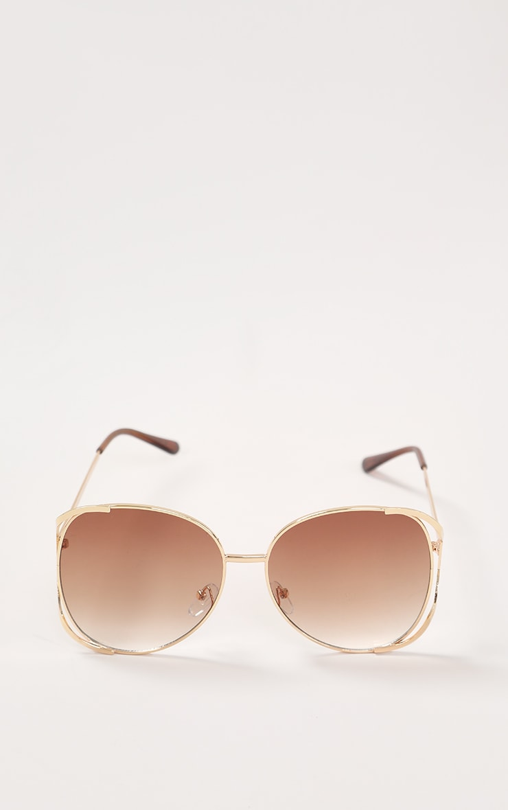 Brown Faded Lens Gold Cut Out Frame Oversized Sunglasses 2