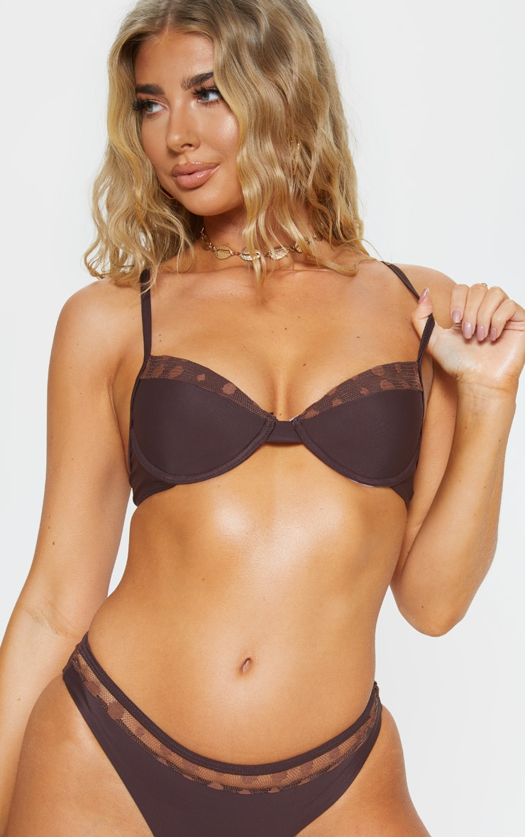 Chocolate Polka Panelled Cupped Bikini Top 5