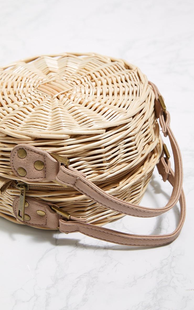 Brown Round Basket Tassel Cross Body Bag 3
