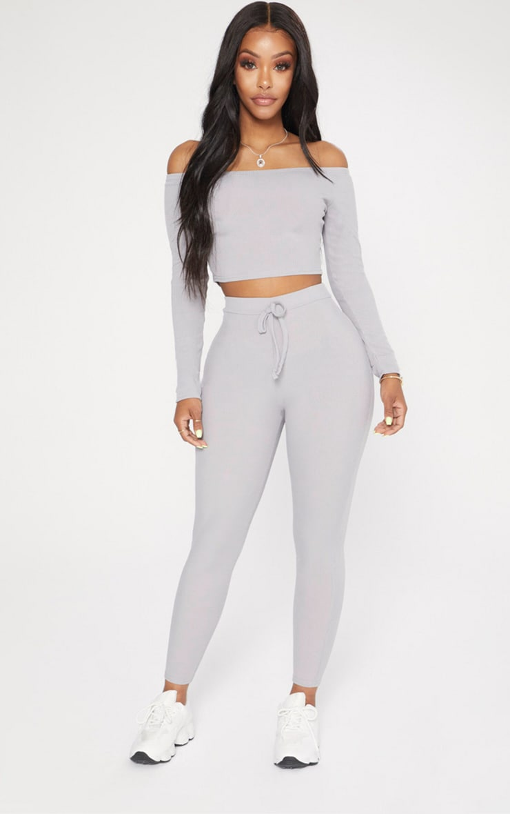 Shape Grey Marl Ribbed High Waist Leggings 1