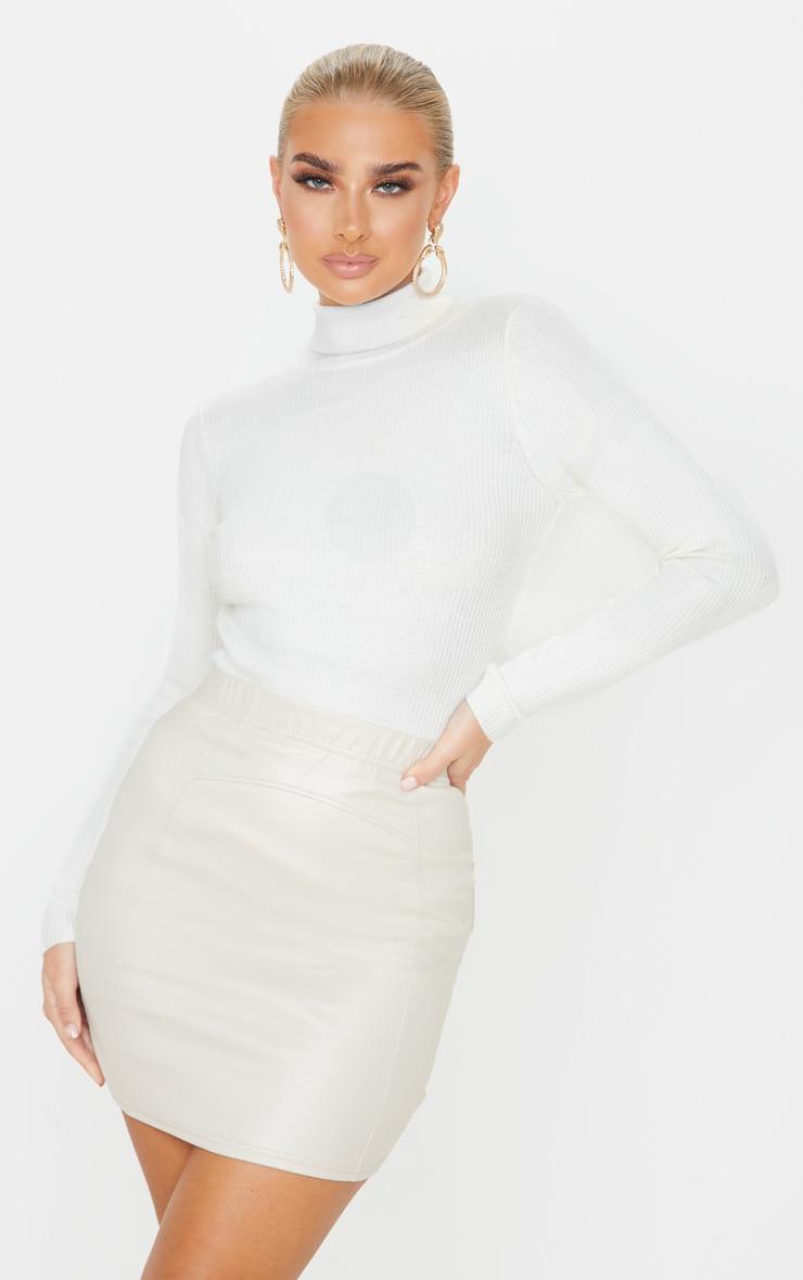 Stone Textured Seam Detail Mini Skirt  1
