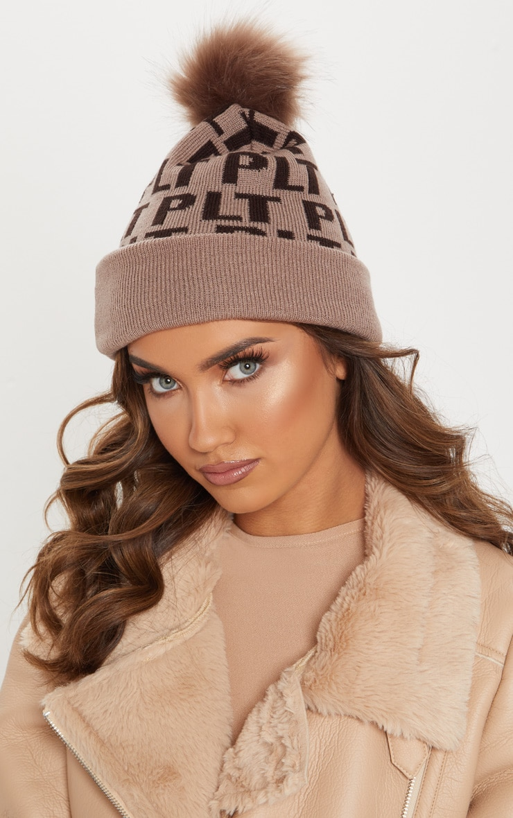 efe37dde1de PRETTYLITTLETHING Brown Monogram Faux Fur Bobble Hat image 1