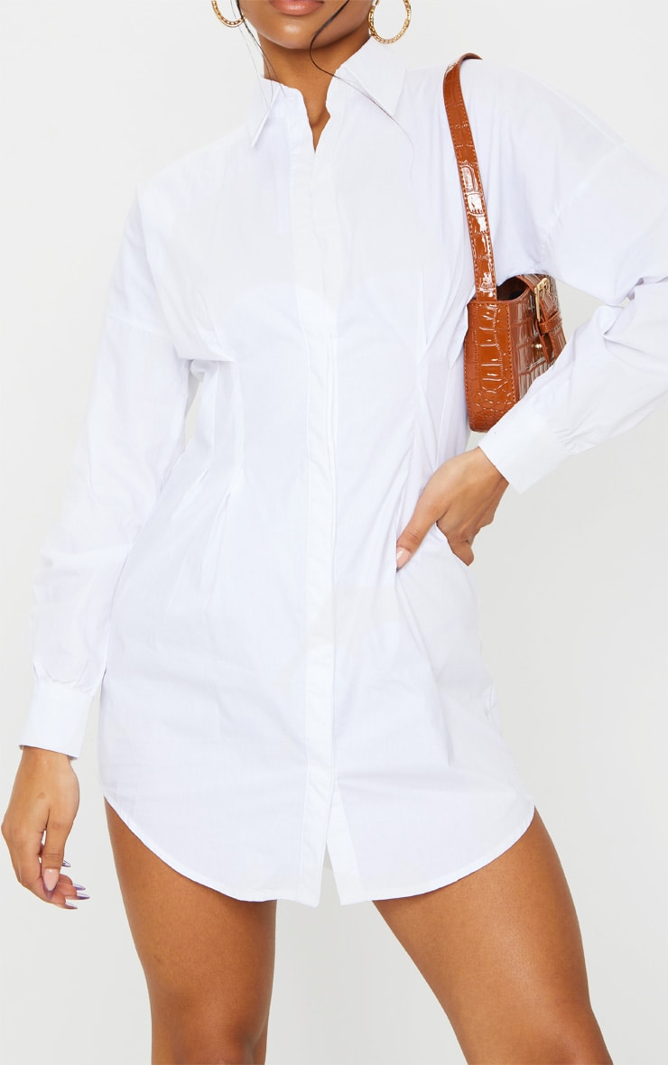 White Fitted Waist Long Sleeve Shirt Dress 5