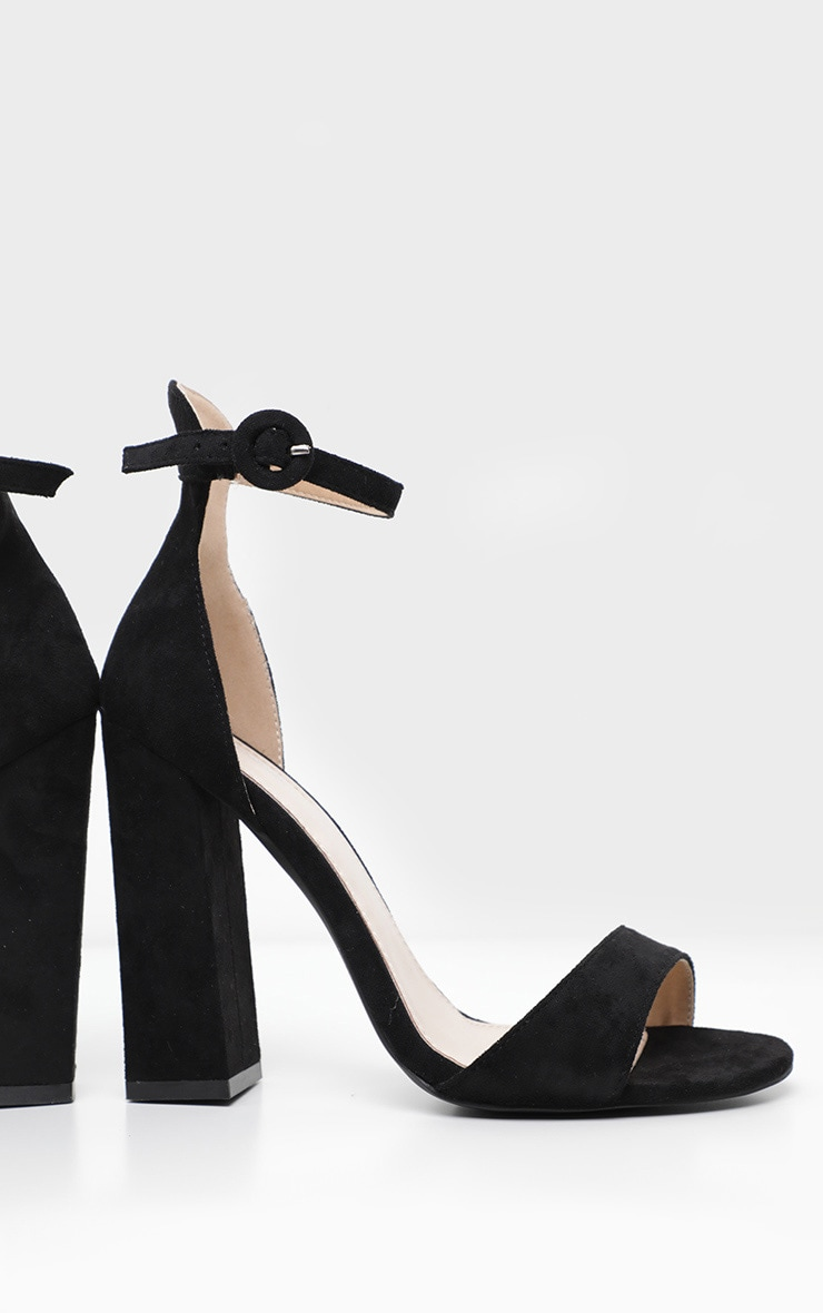 Black Wide Fit High Block Heel Sandal 3
