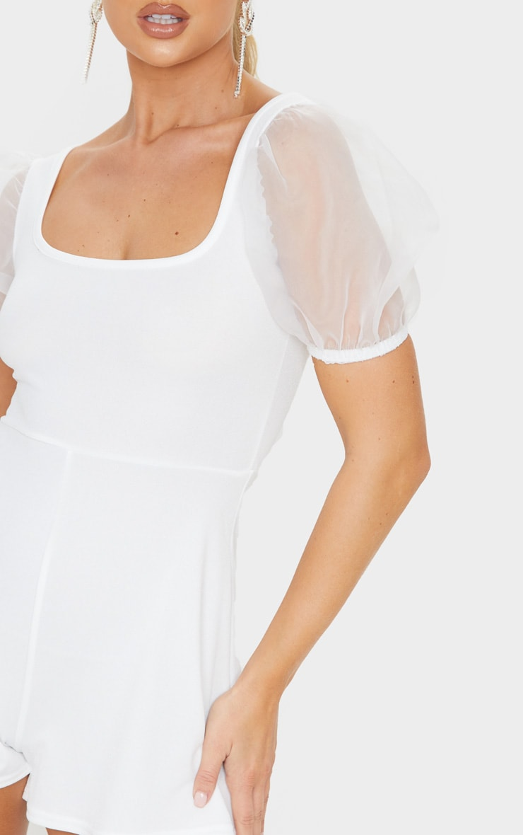 White Organza Puff Sleeve Playsuit 5
