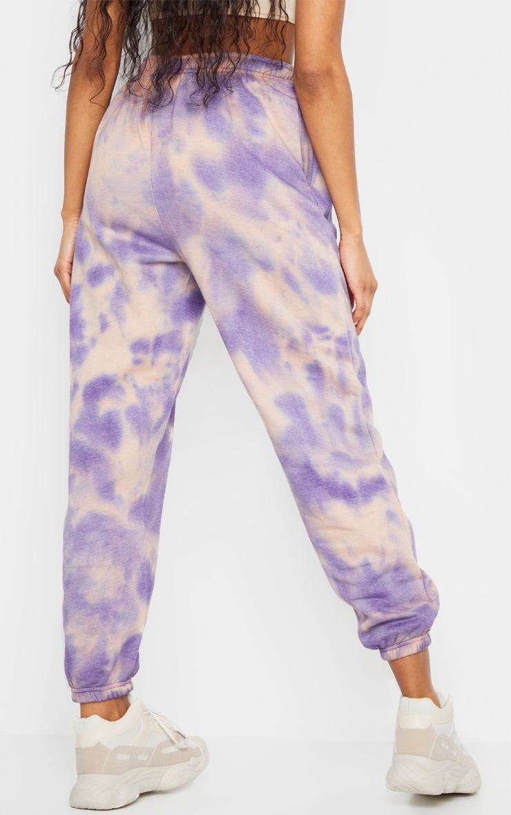 Purple Acid Wash Casual Joggers 3