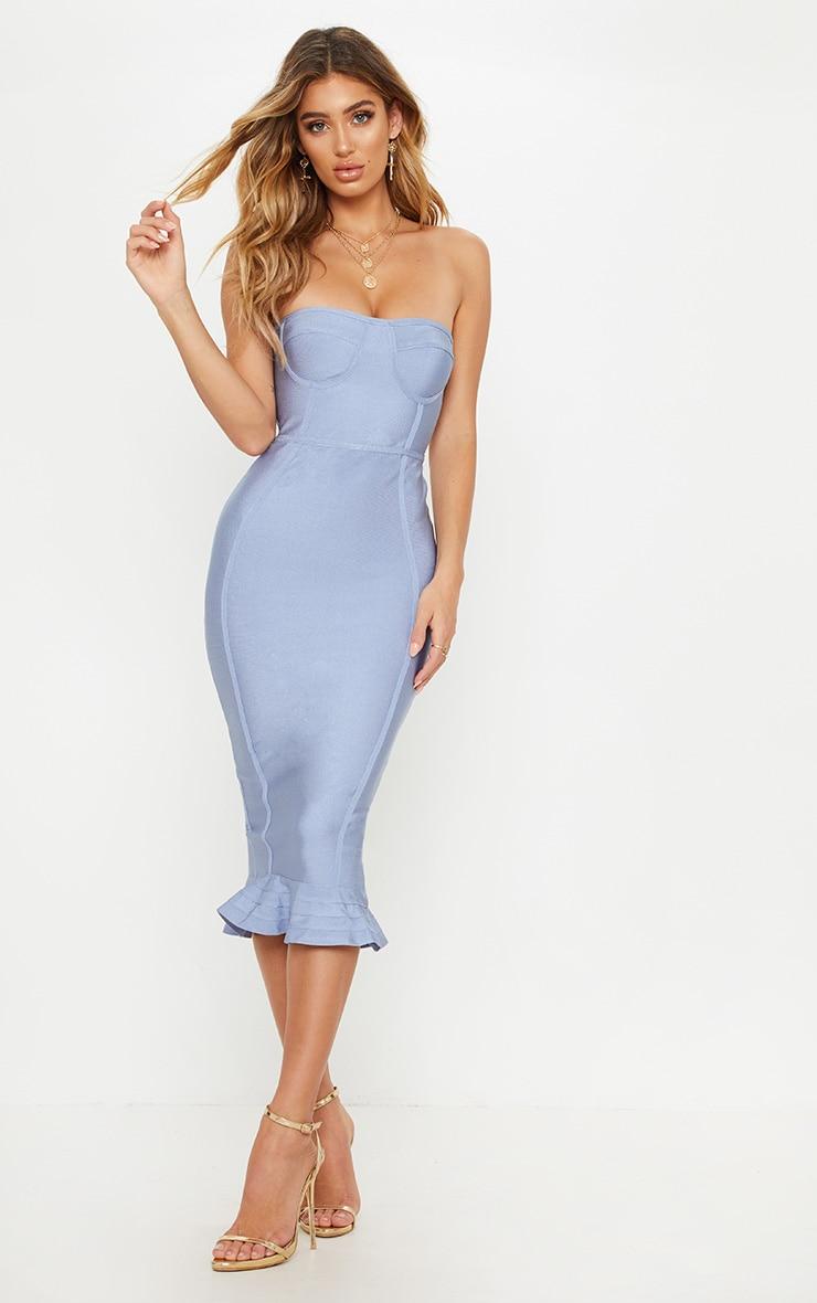 Dusty Blue Frill Hem Bandage Midi Dress
