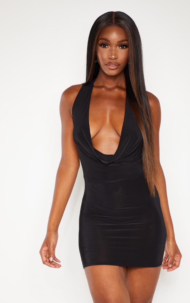31d43bd4923e Black Slinky Cowl Neck Double Strap Bodycon Dress image 1