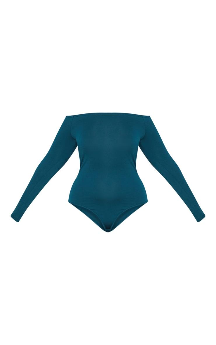 Plus Emerald Green Basic Bardot Bodysuit 3