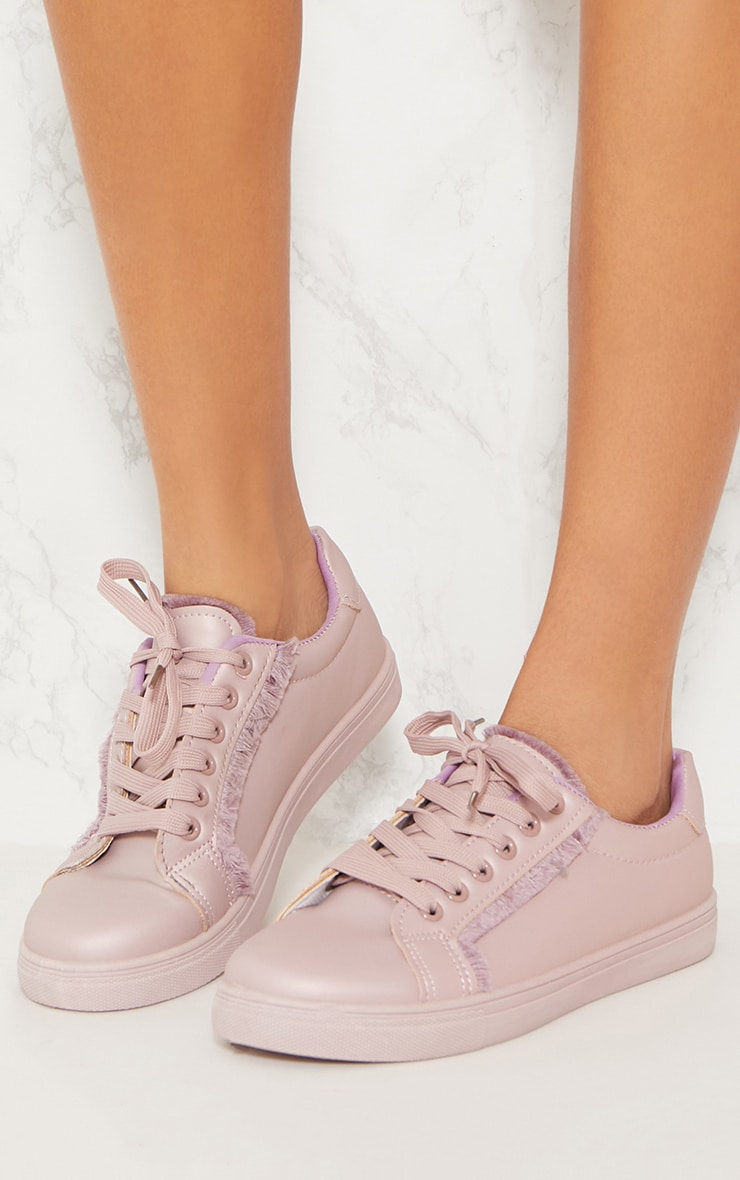 Lilac Frayed Edge Lace Up Trainer 2