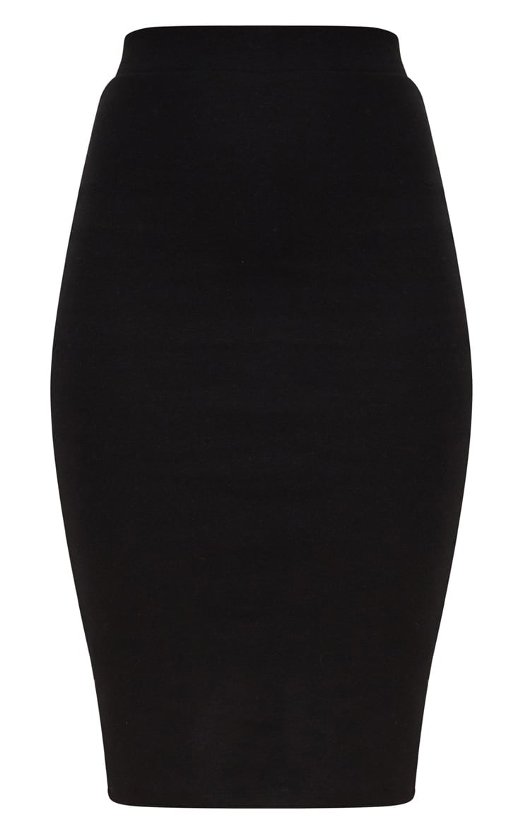 Black Second Skin Bodycon Midi Skirt 3