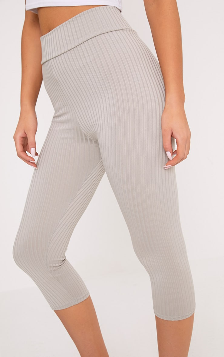 Harlie Grey Cropped Ribbed High Waisted Leggings 5