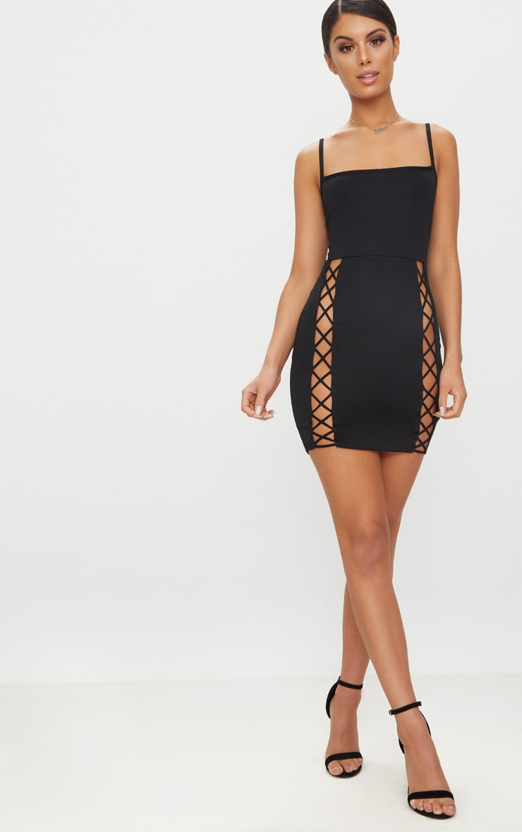Black Strappy Square Neck Lace Up Thigh Bodycon Dress 4