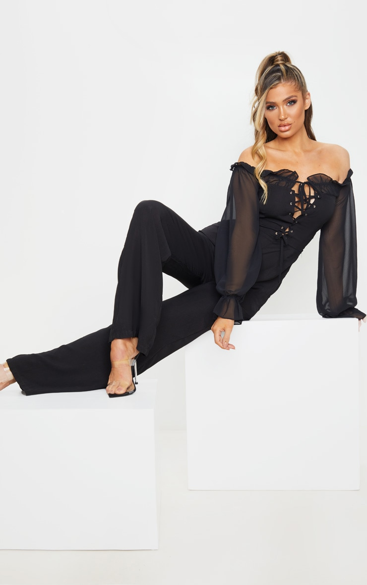 Black Lace Up Detail Chiffon Sleeves Jumpsuit 1