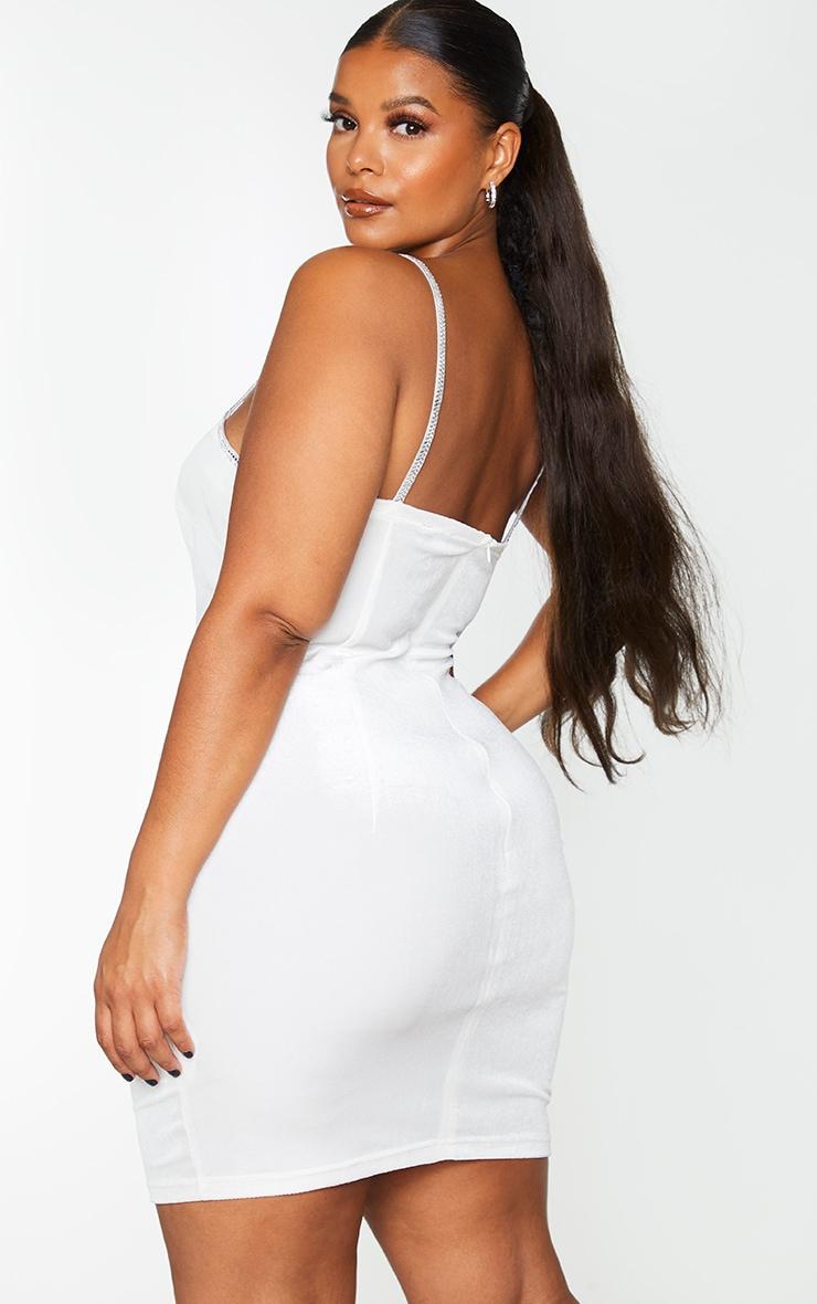 Plus White Velvet Diamante Trim Strappy Bodycon Dress 2