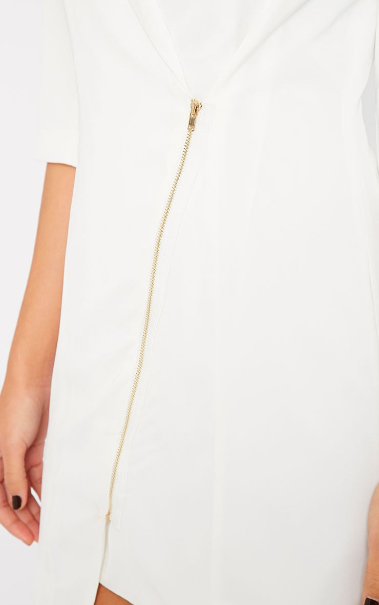 Maryam Cream Longline Asymmetric Zip Front Blazer Dress 4