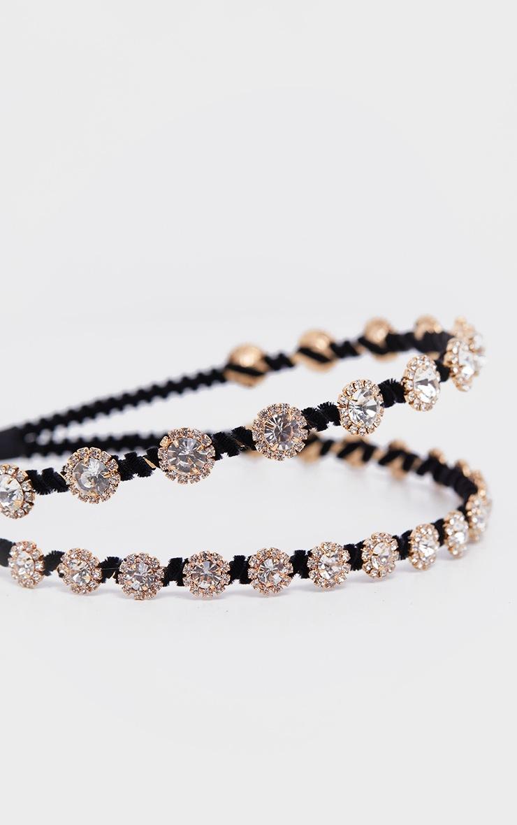Black Double Row Crystal Headband 2