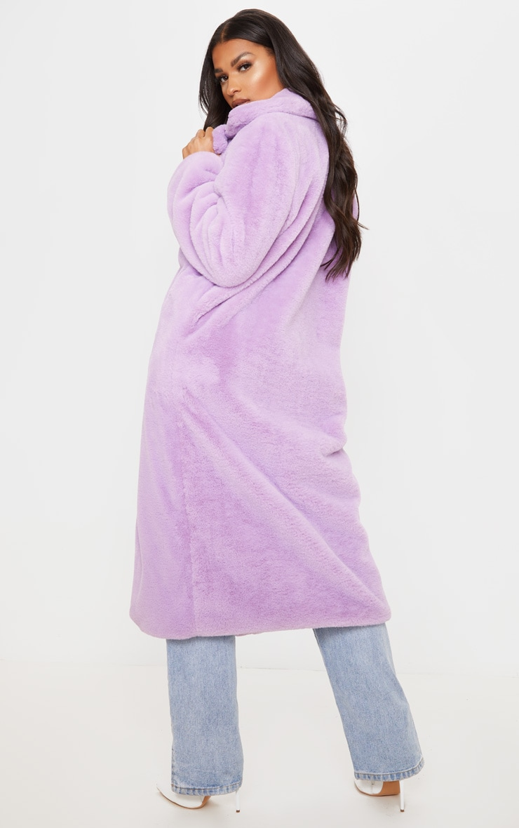 Lilac Maxi Faux Fur Coat 2