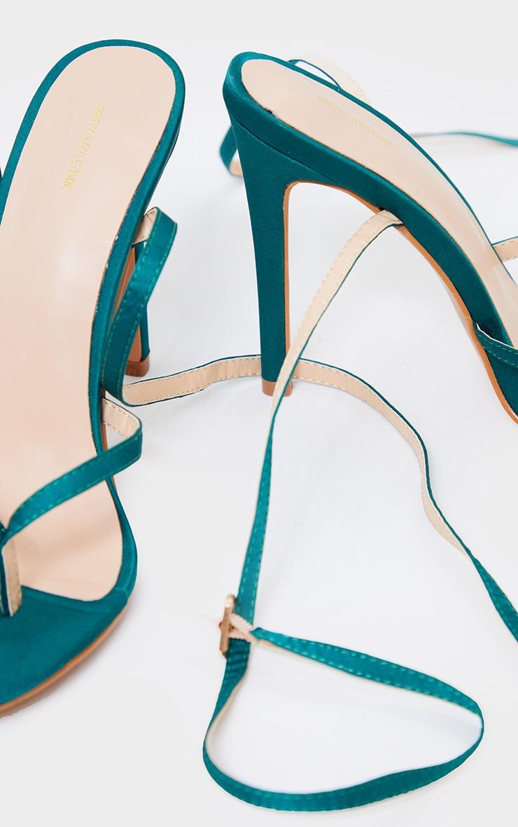 Emerald Green Satin Toe Thong Cross Over Strap High Heels 4