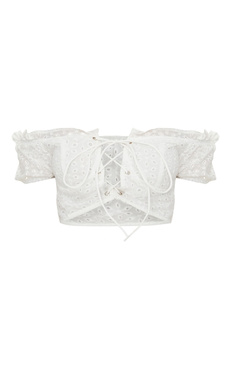 Petite  White Lace Up Detail Broderie Anglaise Crop Top 3