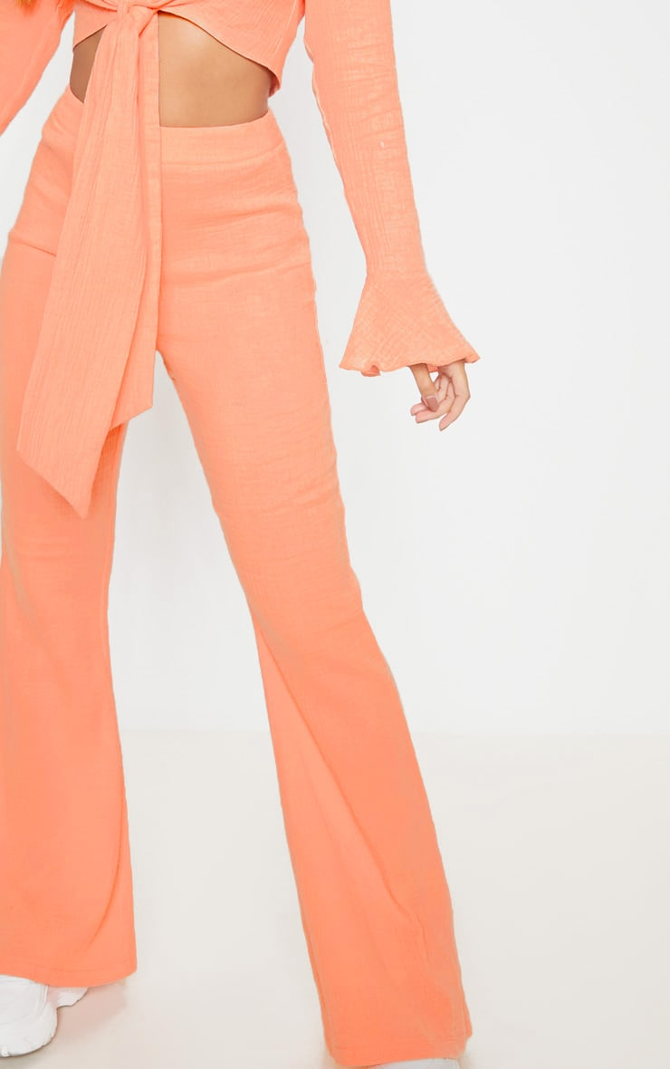 Coral Textured Flare Leg Trouser 4