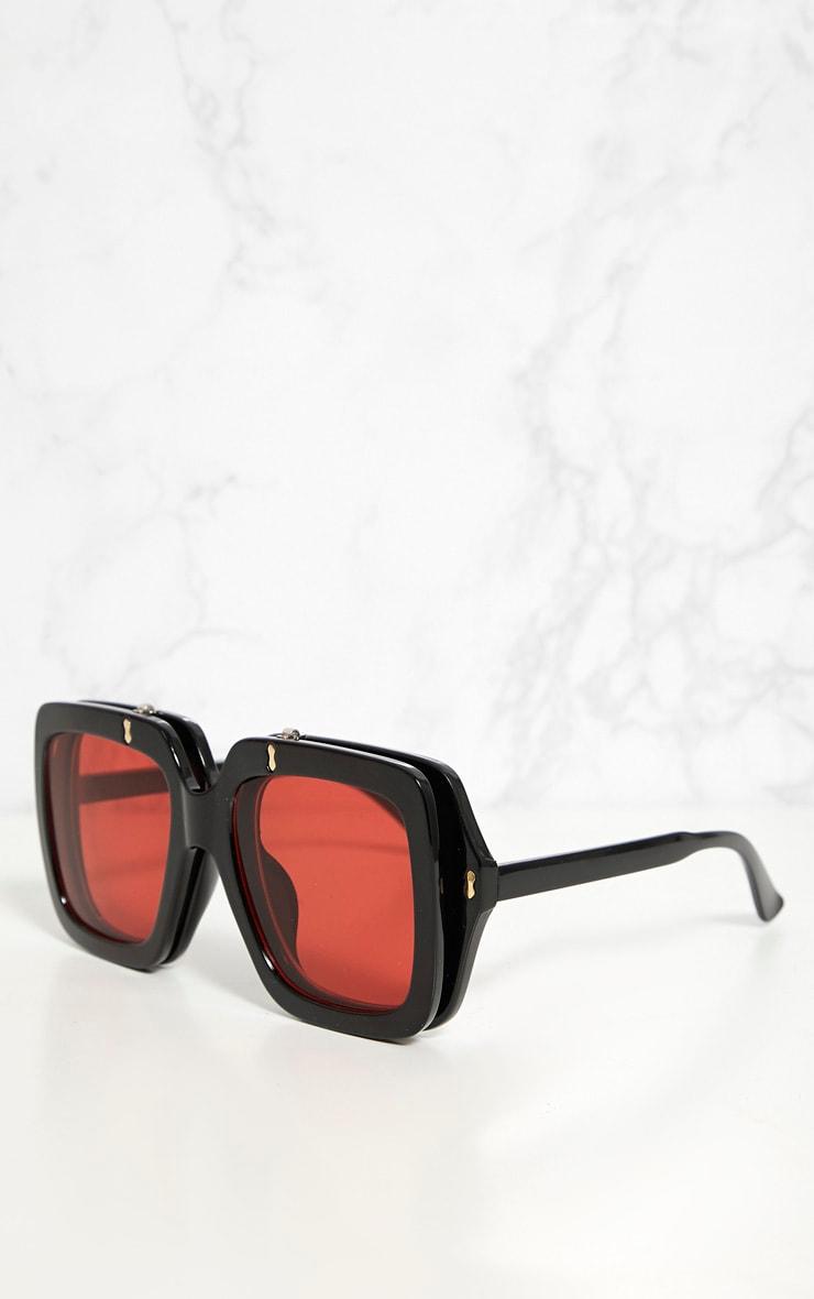 Red Lensed Chunky Flip Up Sunglasses 3