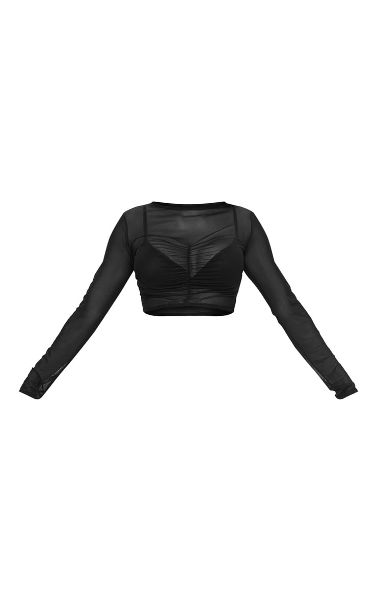 Black Mesh Ruched Front Long Sleeve Crop Top 3
