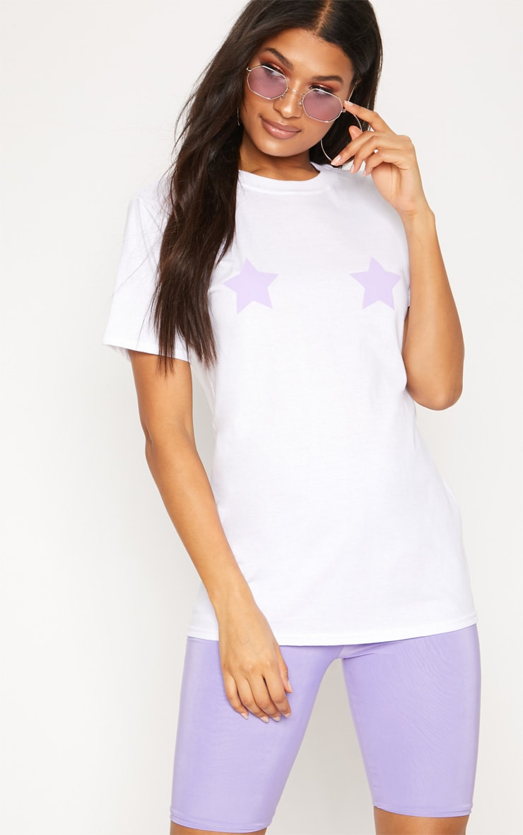 Lilac Star Print Oversized T Shirt 1