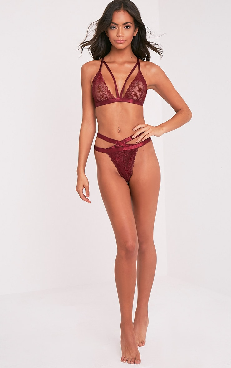 Gerrie Burgundy Lace Harness Soft Bra 5