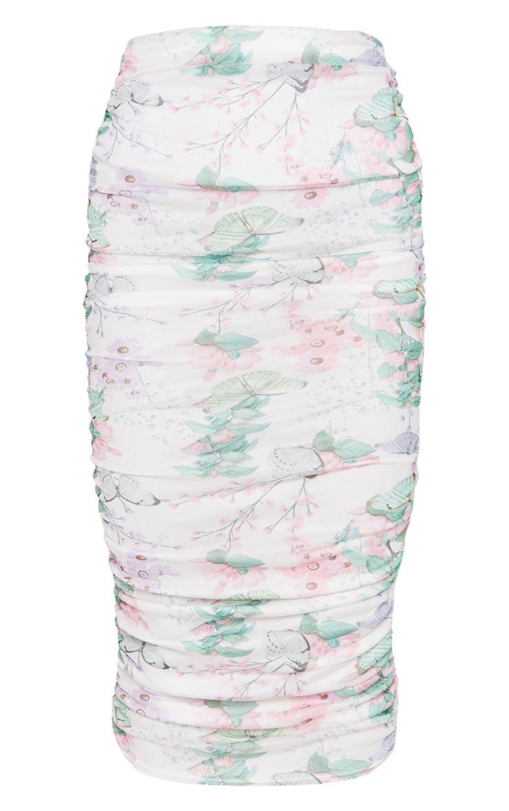 White Floral Mesh Ruched Midi Skirt 5