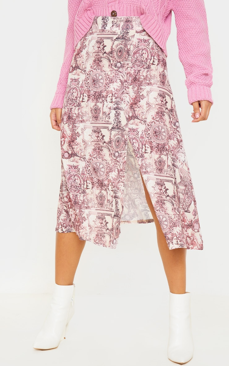 Stone Renaissance Print Floaty Midi Skirt 2