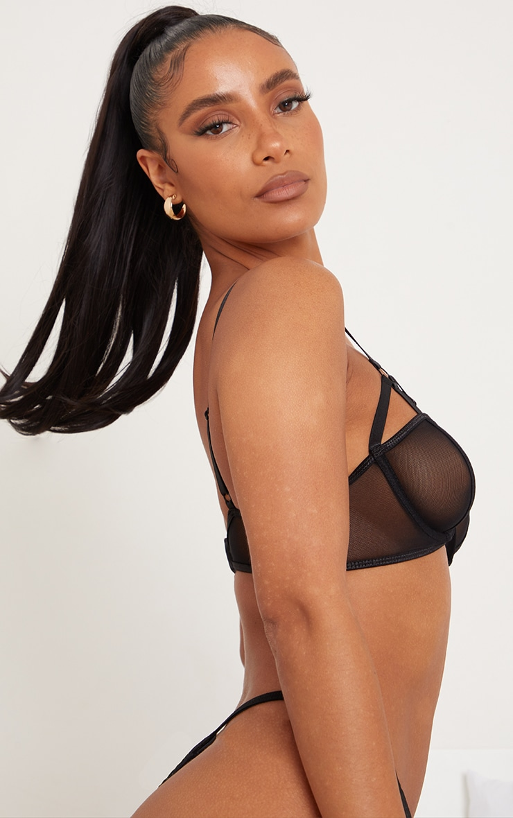 PRETTYLITTLETHING X CoppaFeel! Black Ring Detail Harness Strap Mesh Underwired Bra 2