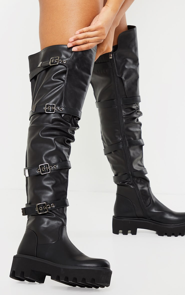 Black Over The Knee Buckle Detail Chunky Boots 1