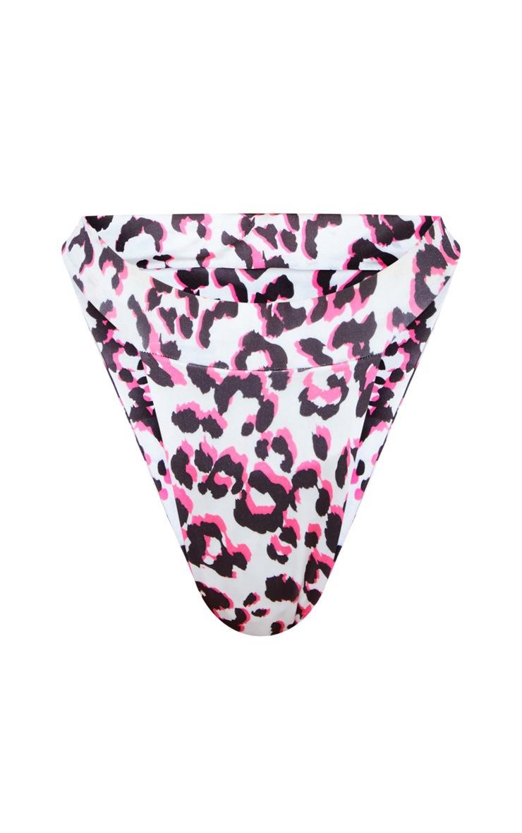 Neon Pink Leopard High Leg Bikini Bottom 3