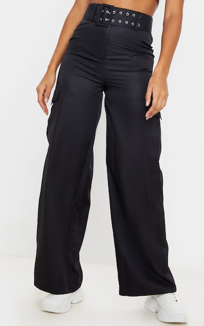 Black Belted Pocket Wide Leg Trouser
