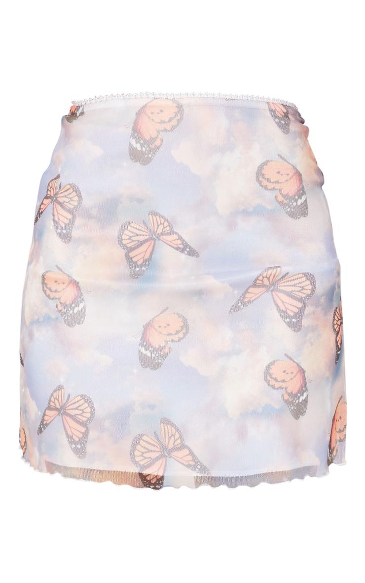 Blue Butterfly Print Lettuce Hem Skirt 6